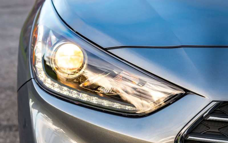 2020 Hyundai Accent close up of LED headlight 2018 shown