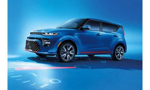 2020 Kia Soul blue parked on speedometer floor