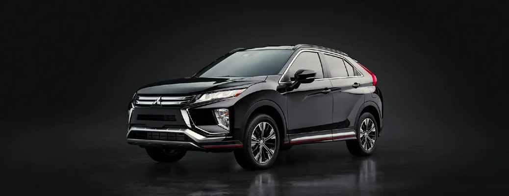 2020 Mitsubishi Eclipse Cross black isolated background with reflection