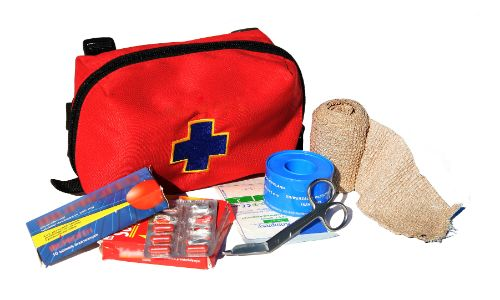 First aid kit disassembled isolated background