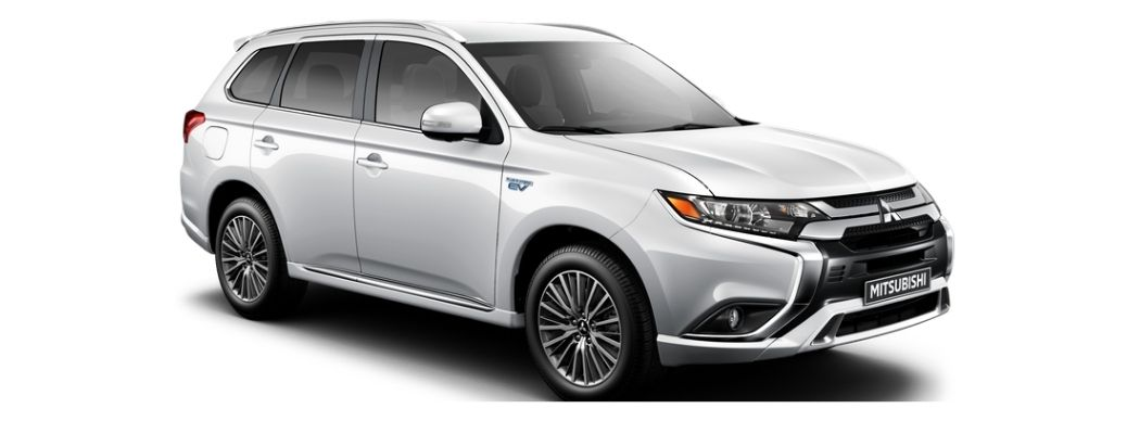 2022 Mitsubishi Outlander PHEV White Front and Side View