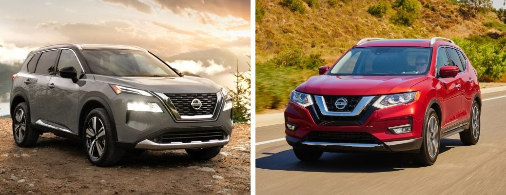 2021 Nissan Rogue in grey and 2020 Nissan Rogue in red