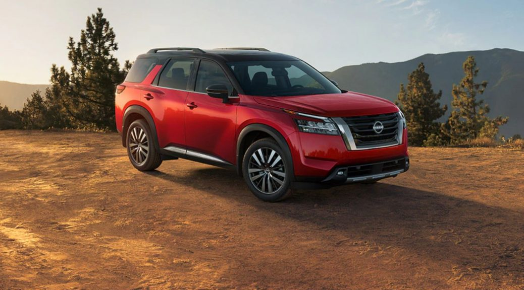 2022 Nissan Pathfinder Red Front and Side View