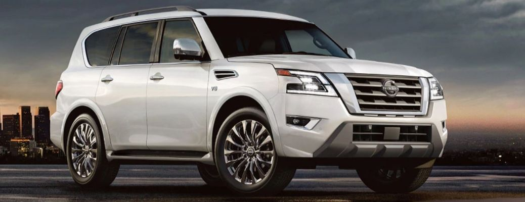 2021 Nissan Armada White Front and Side View