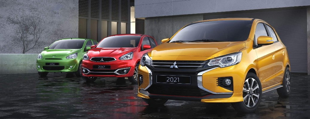 2021 Mitsubishi Mirage models in yellow, red, and green paint colours