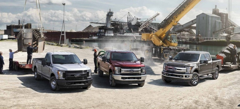 2019 Ford Super Duty lineup on a job site