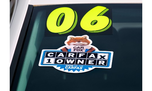 Carfax sticker on a window