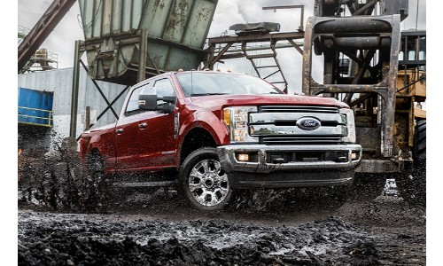 2019 Ford F-250 on a work site in mud