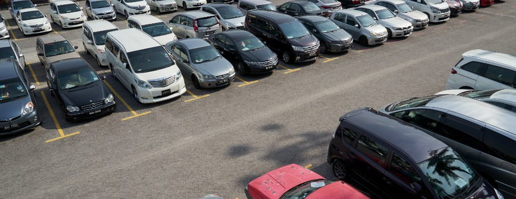 Overhead shot of a used car lot