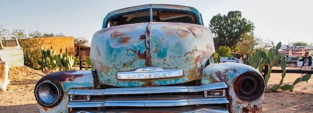 Old rusted Chevy in the desert