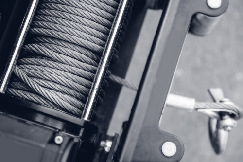steel cable winch close-up