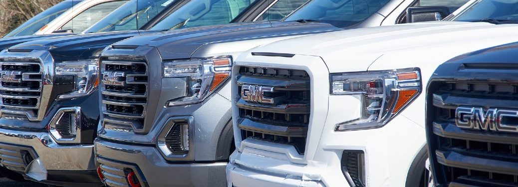2020 GMC trucks lined up on sales lot