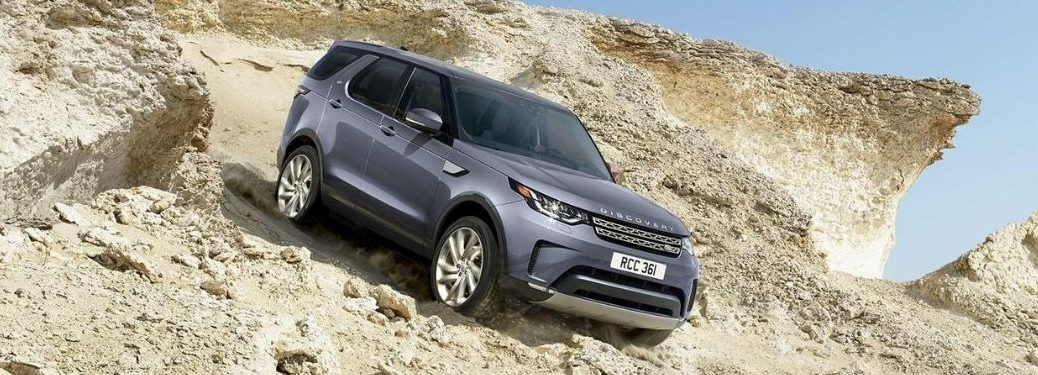 Exterior view of a gray 2020 Land Rover Discovery
