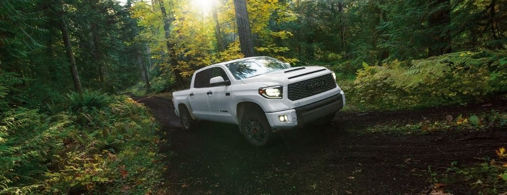 2021 Toyota Tundra driving in the forest