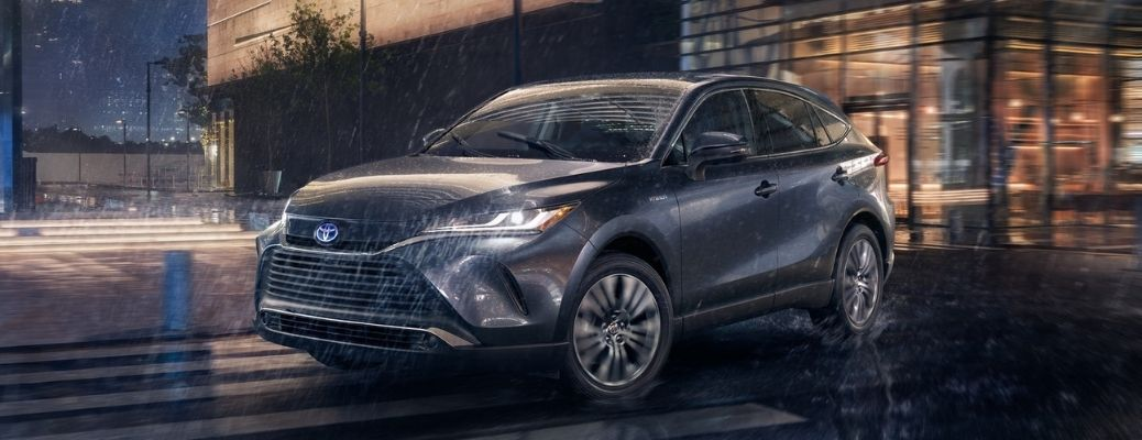 2021 Toyota Venza driving out in the rain