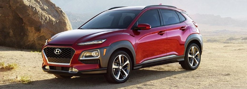 2021 Hyundai Kona exterior front fascia driver side in front of rocks