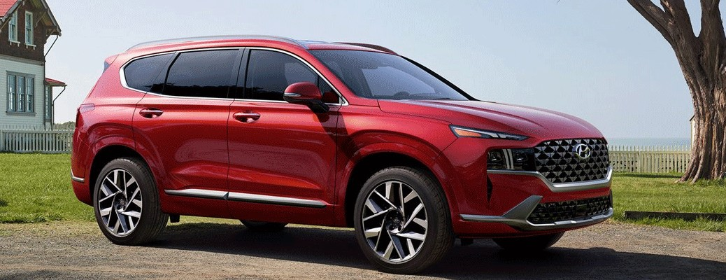 Side view of the 2021 Hyundai Santa Fe color red