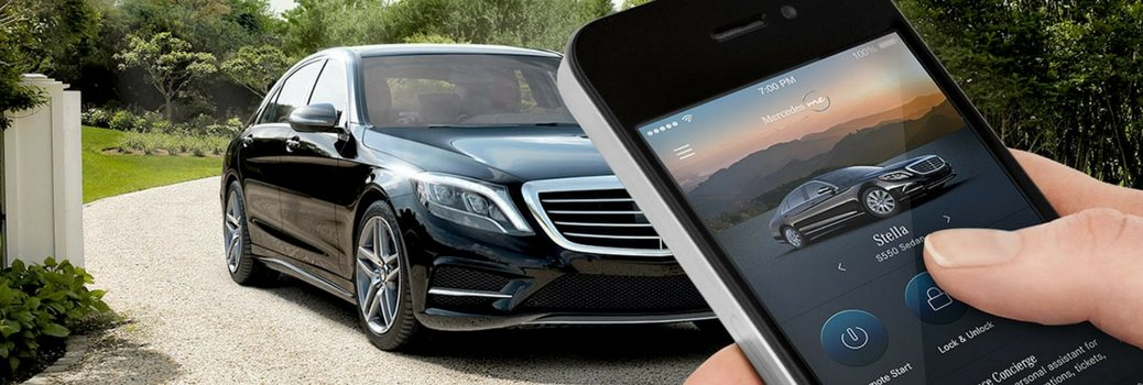 Mercedes-Benz vehicle being controlled via iphone and mbrace app
