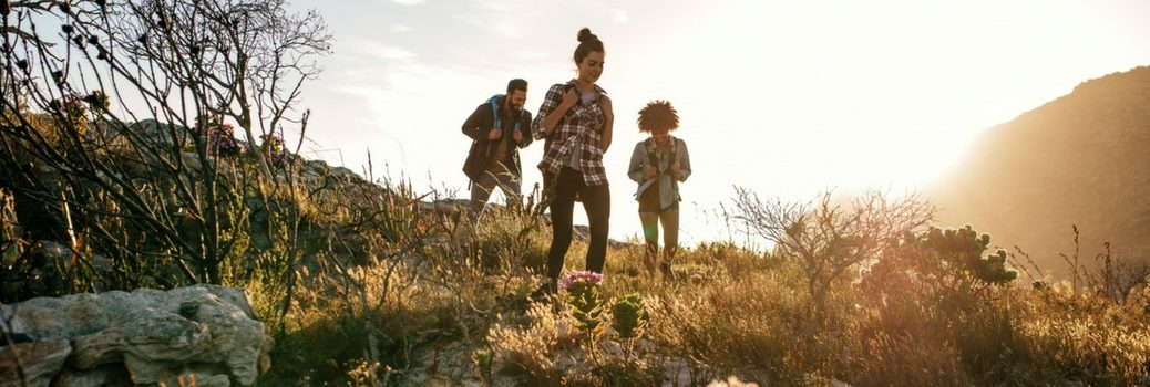 Group of people hiking up hill