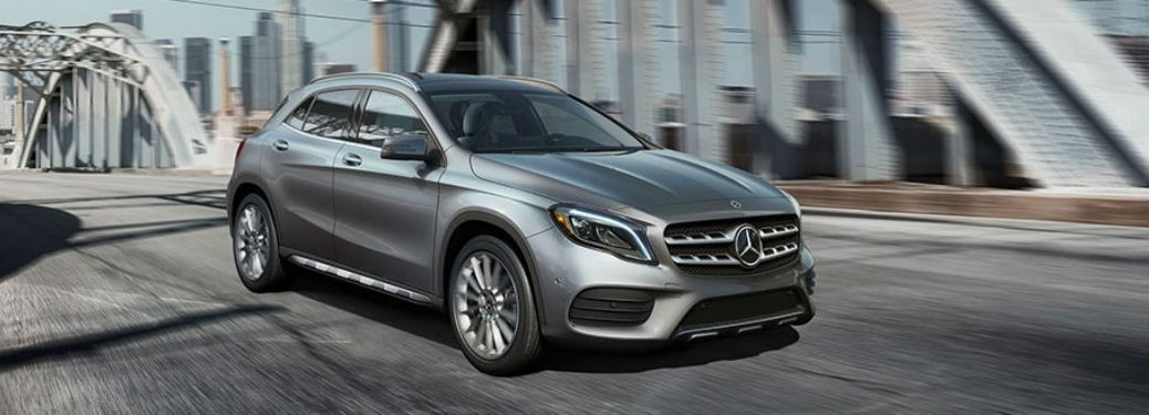 Passenger side exterior view of a gray 2018 Mercedes-Benz GLA SUV