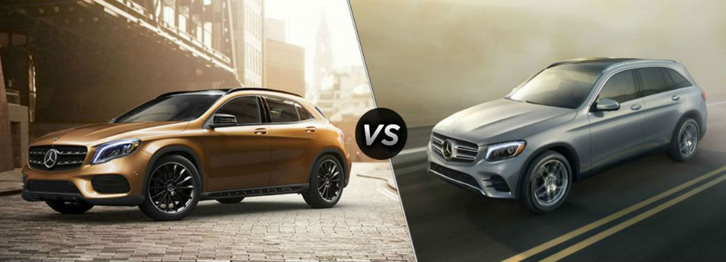 """Driver side exterior view of an orange 2018 Mercedes-Benz GLA on the left """"vs"""" driver side exterior view of a gray 2018 Mercedes-Benz GLC on the right"""