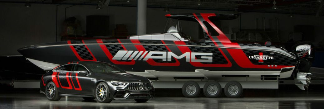 41' AMG® Carbon Edition boat with Mercedes AMG GT 4-door Coupe