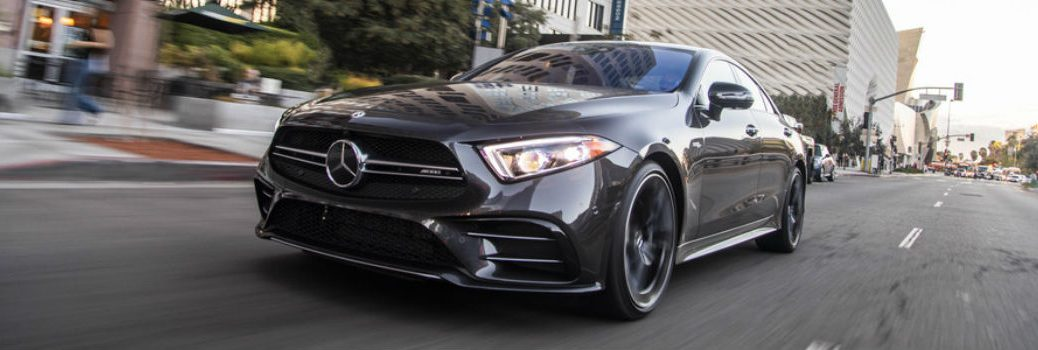 front view of mercedes-benz cls on city street