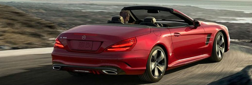 rear view of red mercedes-benz sl