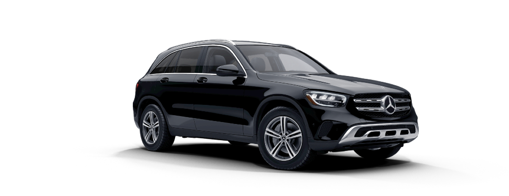 Exterior front/side view of the 2021 Mercedes-Benz GLC