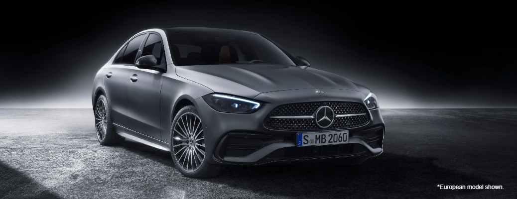 """Front/side angled view of 2022 Mercedes-Benz C-Class. Text reads, """"European Model Shown"""""""