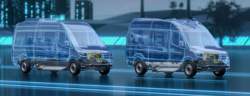 Digitized visualization of two Mercedes-Benz eSprinter vans on virtual road