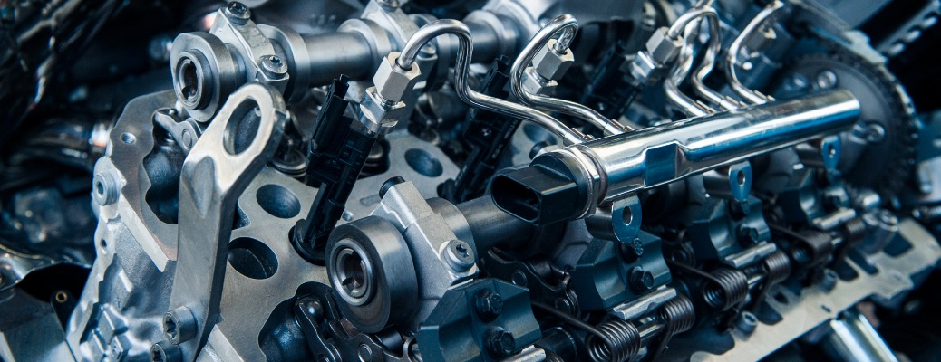 Close-up on the machinery of a car engine