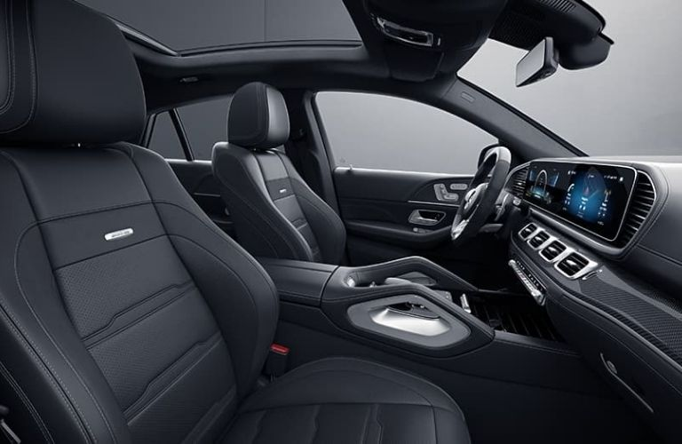 2021 Mercedes-Benz AMG GLE 53 Coupe front seats and dashboard side view