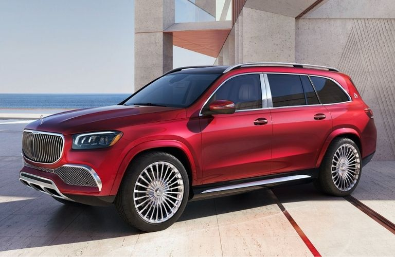 Red colored 2021 Mercedes-Maybach GLS 600 SUV side view