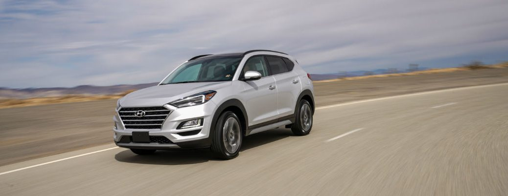 A photo of the 2021 Hyundia Tucson on the road.