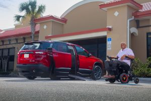 View the exterior of the side-entry wheelchair-accessible Chevy Traverse