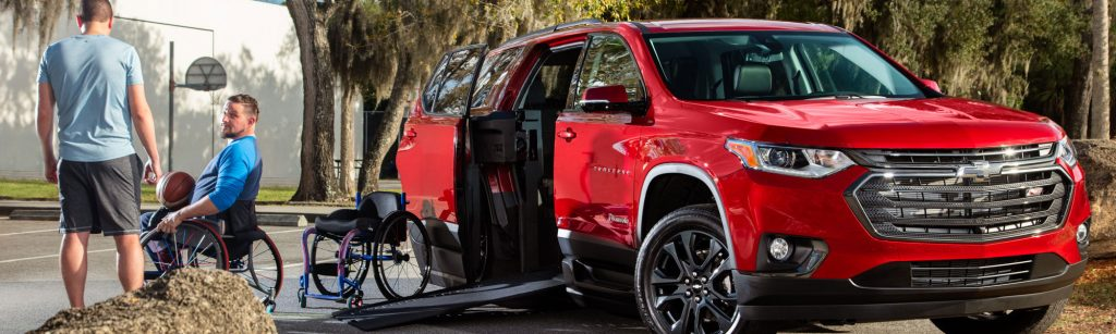 The wheelchair-accessible Chevy Traverse is a great option for independent drivers and multi-chair travelers.