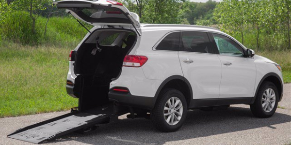 The rear-entry conversion of the Kia Sorento. Available at Aero Mobility in Anaheim, CA