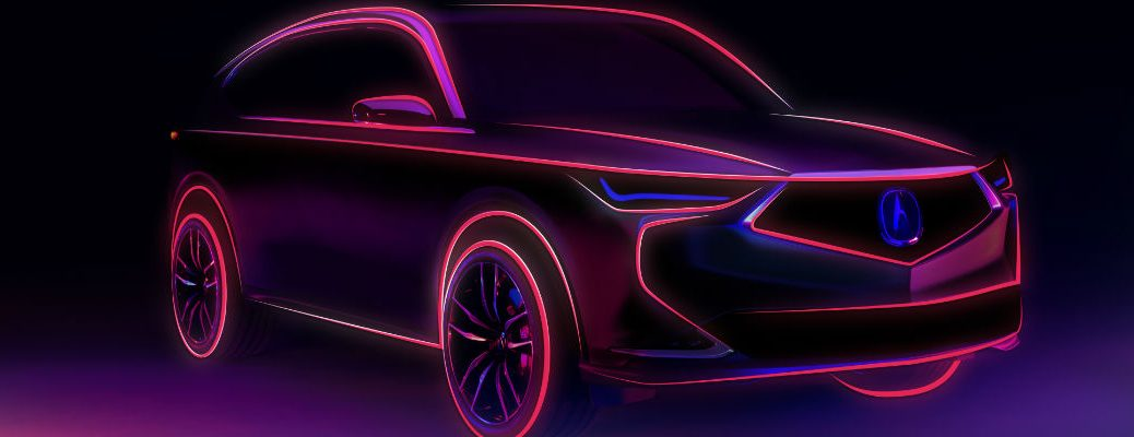 A photo illustration of the outline of the Acura MDX prototype.