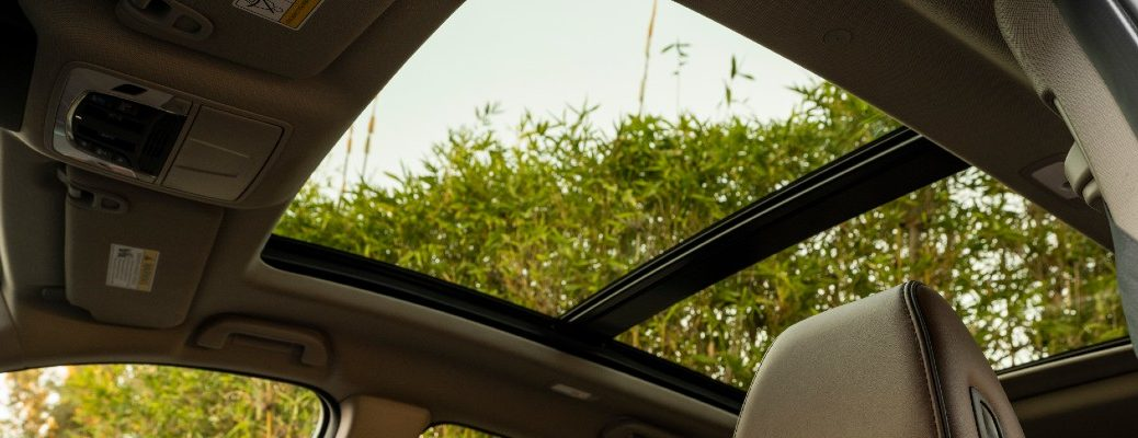 A photo from inside an Acura vehicle showing a moonroof.