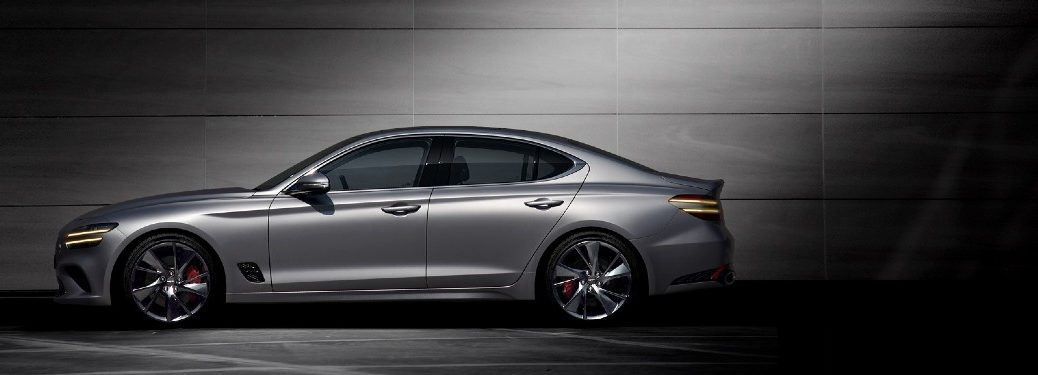 side view of a silver 2021 Genesis G70