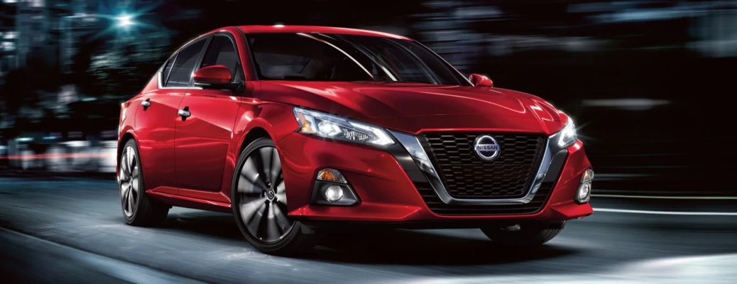 2020 Nissan Altima red front side view at night