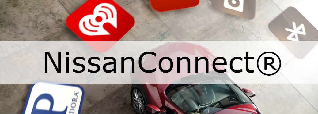 What is NissanConnect? with image of a Nissan Altima with app icons around it