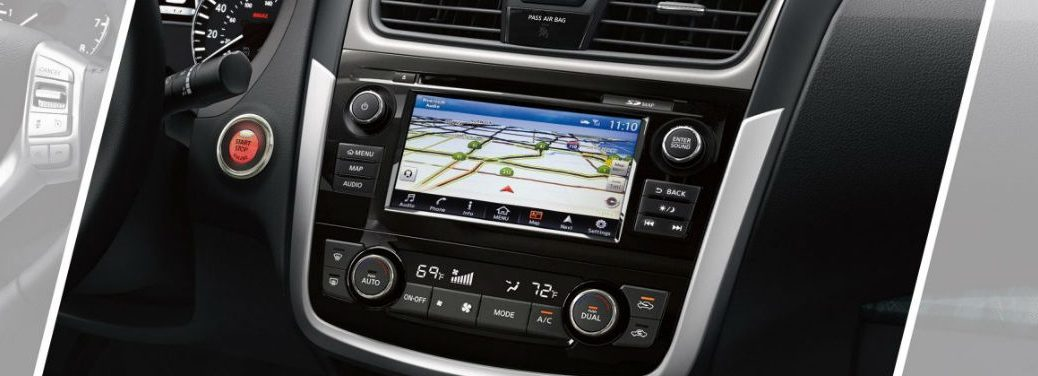 How to Use the Nissan Navigation System with an image of the center console in a 2018 Nissan Altima