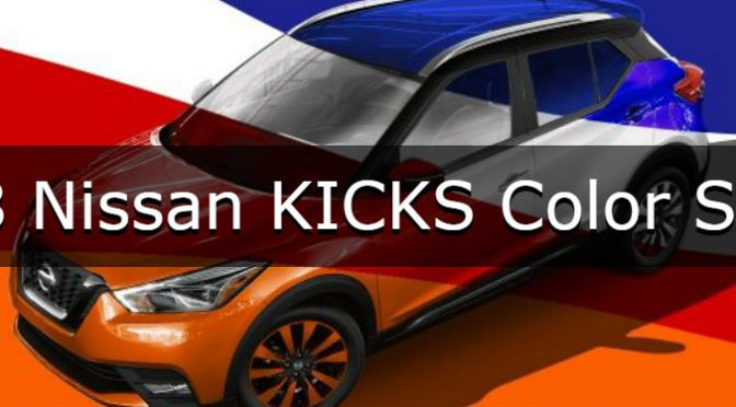 2018 Nissan KICKS Color Studio with an image of a KICKS with blue, red, orange, white