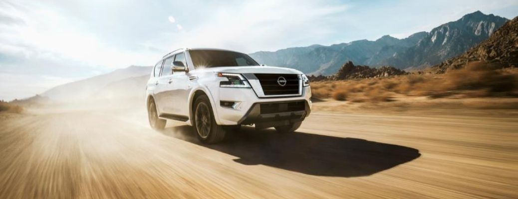 2022 Nissan Armada White Front and Side View