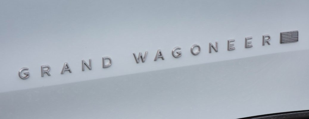 A photo of the Grand Wagoneer badge used by the Jeep Grand Wagoneer concept vehicle.