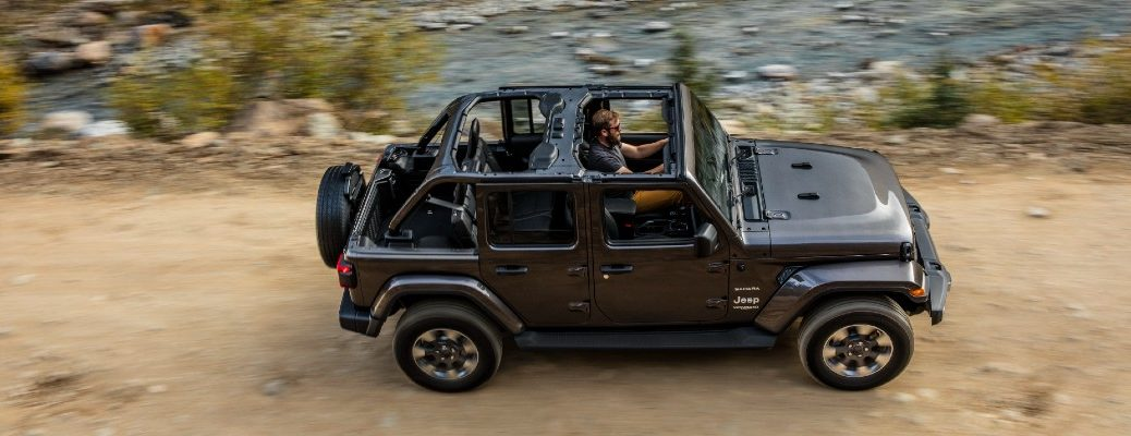 An overhead photo of the 2021 Jeep Wrangler on a trail.
