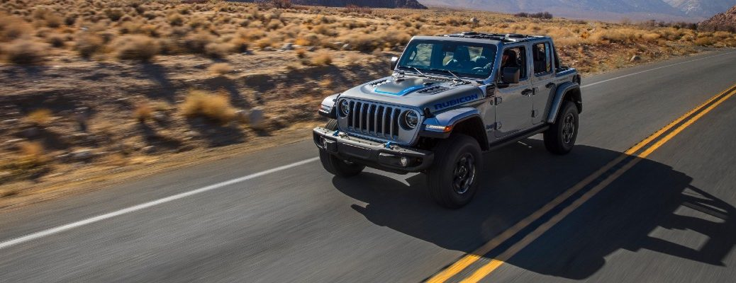 A front right quarter photo of the 2021 Jeep Wrangler 4xe.