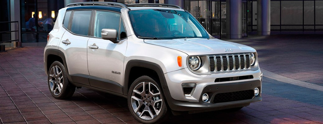 A white-colored 2021 Jeep Renegade parked outside